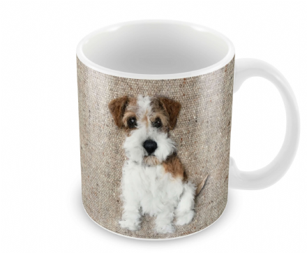 Rough Haired Jack Russell Ceramic Earthenware Mug by Sharon Salt